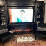 Tv üniteli elektirikli şömine modeli E54 1