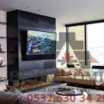 Tv üniteli doğalgazlı şömine modeli HF34 1