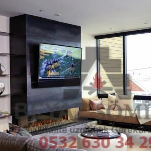 Tv üniteli doğalgazlı şömine modeli HF34